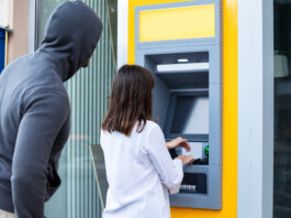 Male Trying To Steal Pin Code Of Woman's Card Using ATM For Withdrawing Cash