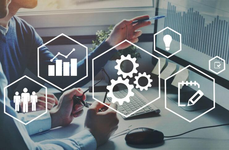 Automation and optimisation concept, business process workflow development