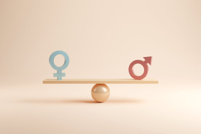 Gender equality concept. Male and female symbol on the scales with balance on blue background. minimal style, 3d render.