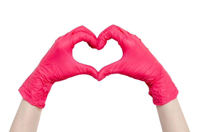 Heart made of red medical gloves, Healthy lifestyle, benefits of vitamins, vaccination, afraid of injections, medical store, pharmacy, presentation, quick recovery, useful habits, proper nutrition