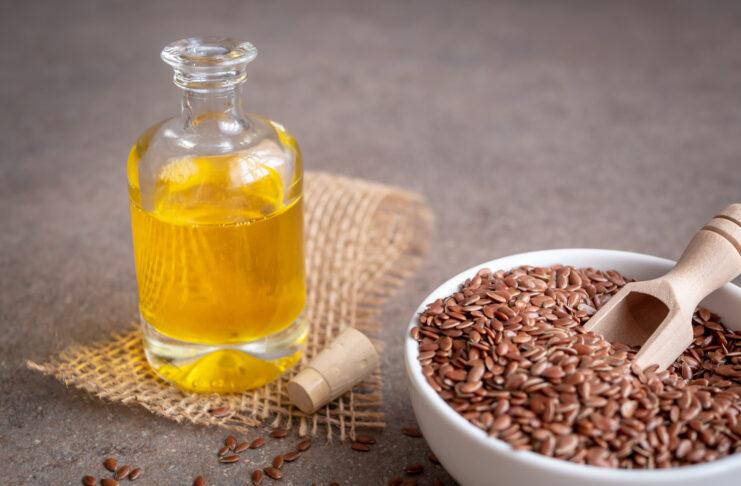 Samen, Saat, Speiseöl, Schüssel, Glasflasche, Speise, Textfreiraum