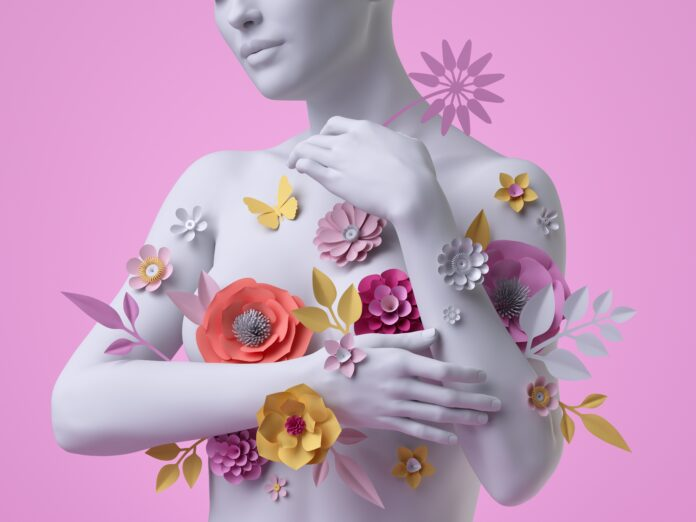 3d render, female bust, white mannequin covered with colorful paper flowers, woman silhouette isolated on pink background. Breast cancer support. Floral fashion concept. Modern botanical sculpture
