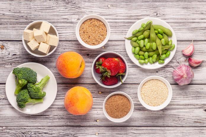 Östrogenreiche Lebensmittel, Menopause Diät. Ansicht von oben.