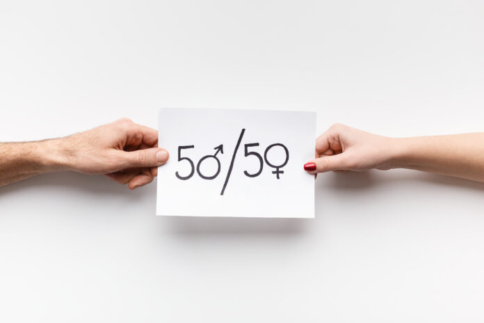 Gender parity. Man and woman holding paper with text 50/50, zeros as female and male symbols, copy space