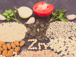 Inscription Zn with healthy nutritious eating containing zinc, vitamins and dietary fiber