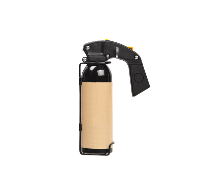 Large spray can with isolate on a white background. Black spray bottle with colored button. Pepper spray for self defense.