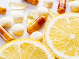 Ergänzung, Zitrone, Vitamine, Ernährung, weißer Hintergrund