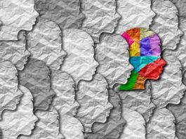 Autismus-Syndrom Person und Autistic soziale Entwicklungsstörung Bildung Puzzle Kinder Symbol als ein Kind besondere Lernsymbol als Puzzleteile zusammenkommen, um einen jungen Studenten Kopf in einer 3D-Illustration zu bilden.