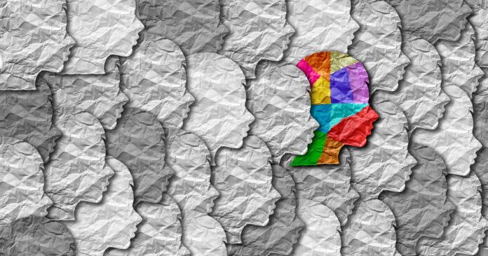 Zespół autyzmu osoba i Autystyczne społeczne zaburzenie rozwoju edukacji puzzle dzieci symbol jako dziecko specjalne uczenie się ikony jako kawałki układanki przychodzące razem, aby utworzyć młodego studenta głowy w ilustracji 3D.
