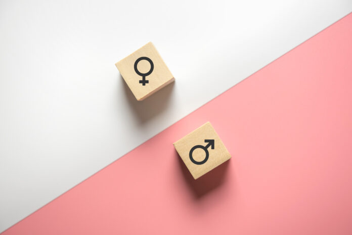 Equality between men and women. Wood block with female and male gender signs on white and pink background.