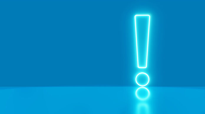 Exclamation mark icon neon light on panoramic blue background. Elements of Web in neon style icons. 3d rendering - illustration.