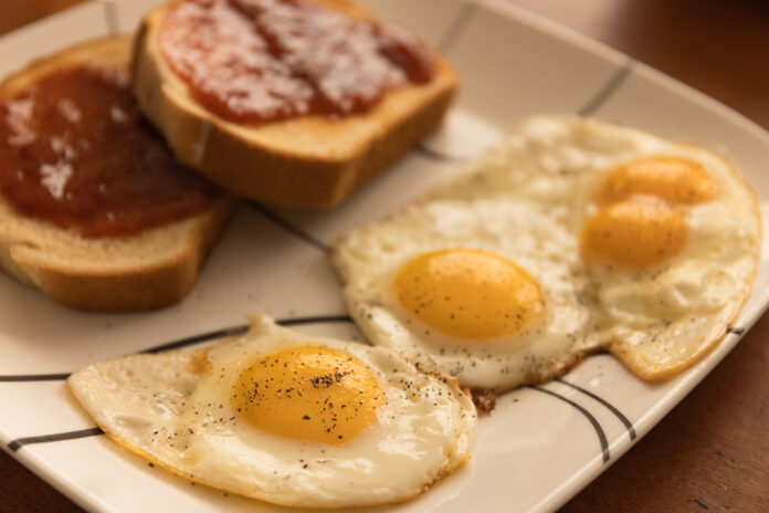Morning breakfast with eggs and toast.