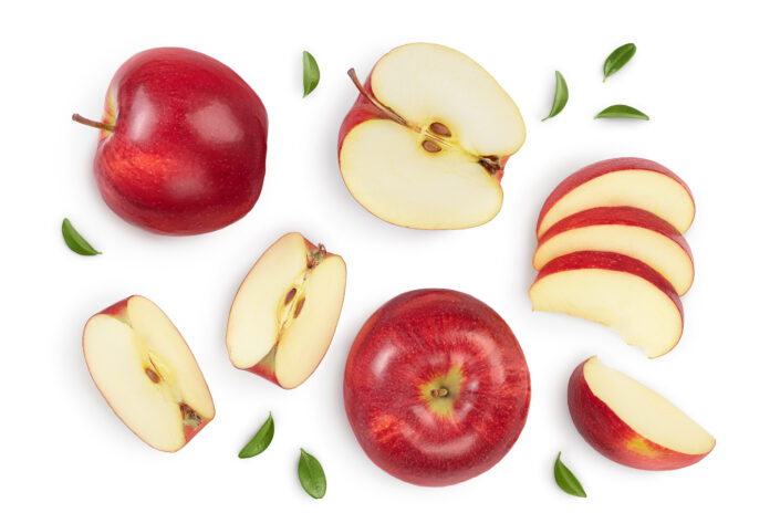 Red apple with half isolated on white background with clipping path and full depth of field. Top view. Flat lay. Set or collection.