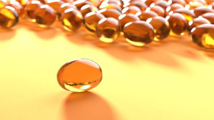 Illustrazione 3D di un integratore vitaminico