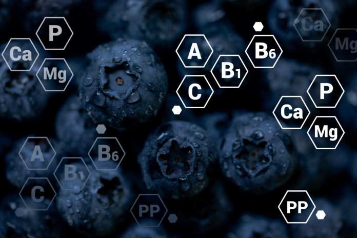 Fresh blueberries background with letter designations of vitamins and minerals. Healthy food, vegan and vegetarian concept