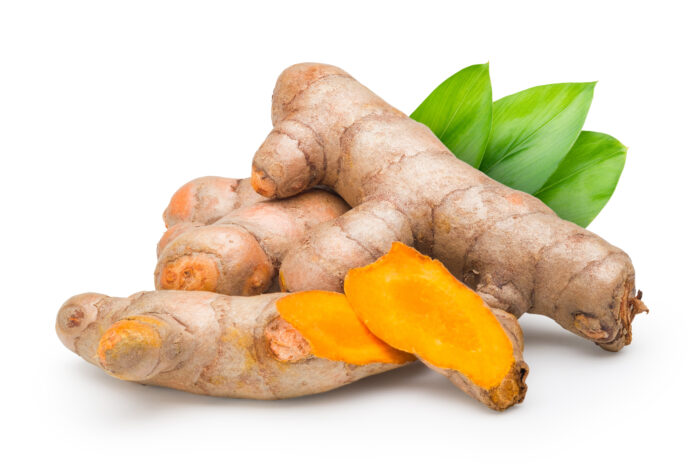 Fresh Turmeric (Curcuma longa) with the leaf on white background. Commercial image of medicinal plant isolated with clipping path.