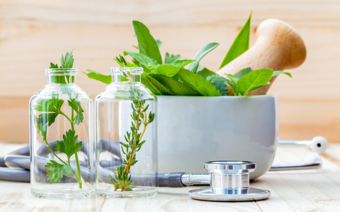 Alternative health care concept. Fresh herbs green mint ,rosemary ,parsley ,sage and lemon thyme in laboratory glassware with stethoscope on wooden background.