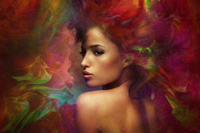 fantasy colorful beautiful young woman portrait, composite photo